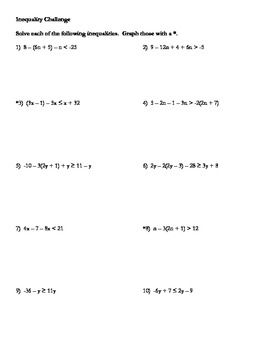 Inequalities Challenge Combining Like Terms Solving Inequalities