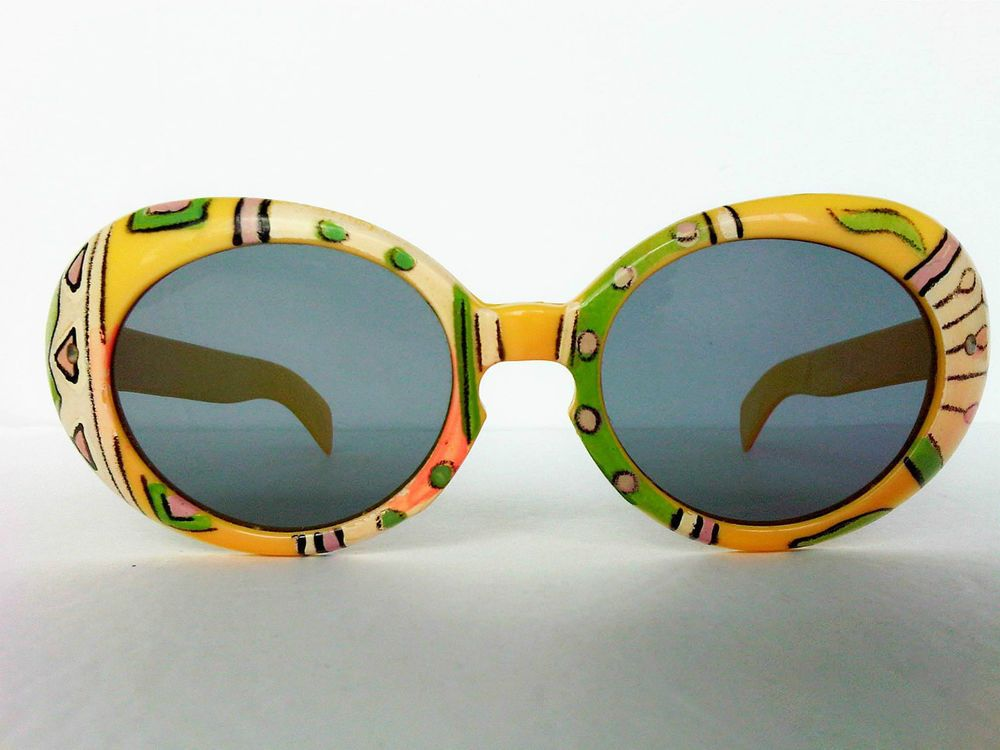 True Vintage Psychedelic Sunglasses HAND PAINTED 60 s 70 s ...