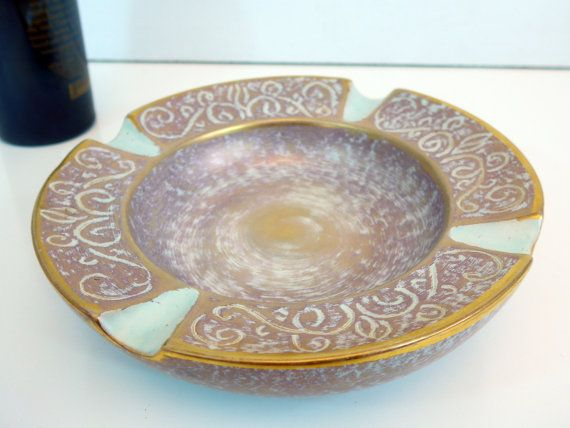 Vintage Round Stangl Gold Mid Century Ashtray  by FourthEstateSale