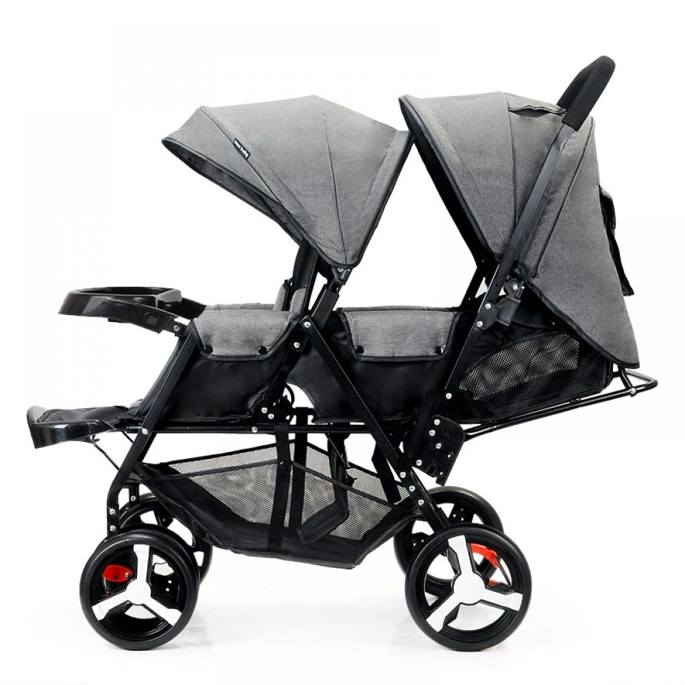 Front and Rear Seat Baby Twin Stroller Flat Lie Double