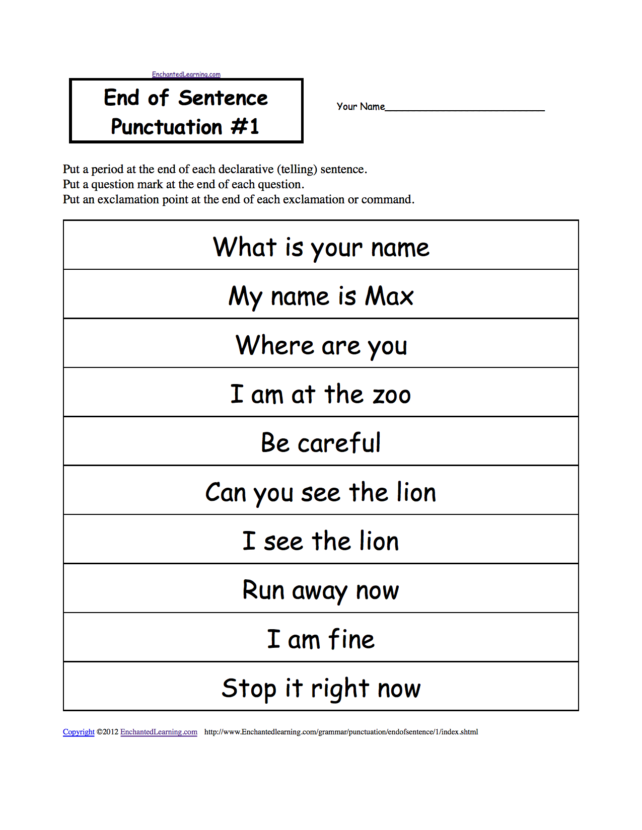 End of sentence punctuation worksheets - even different themes and holidays  to choose   Punctuation worksheets [ 1649 x 1275 Pixel ]