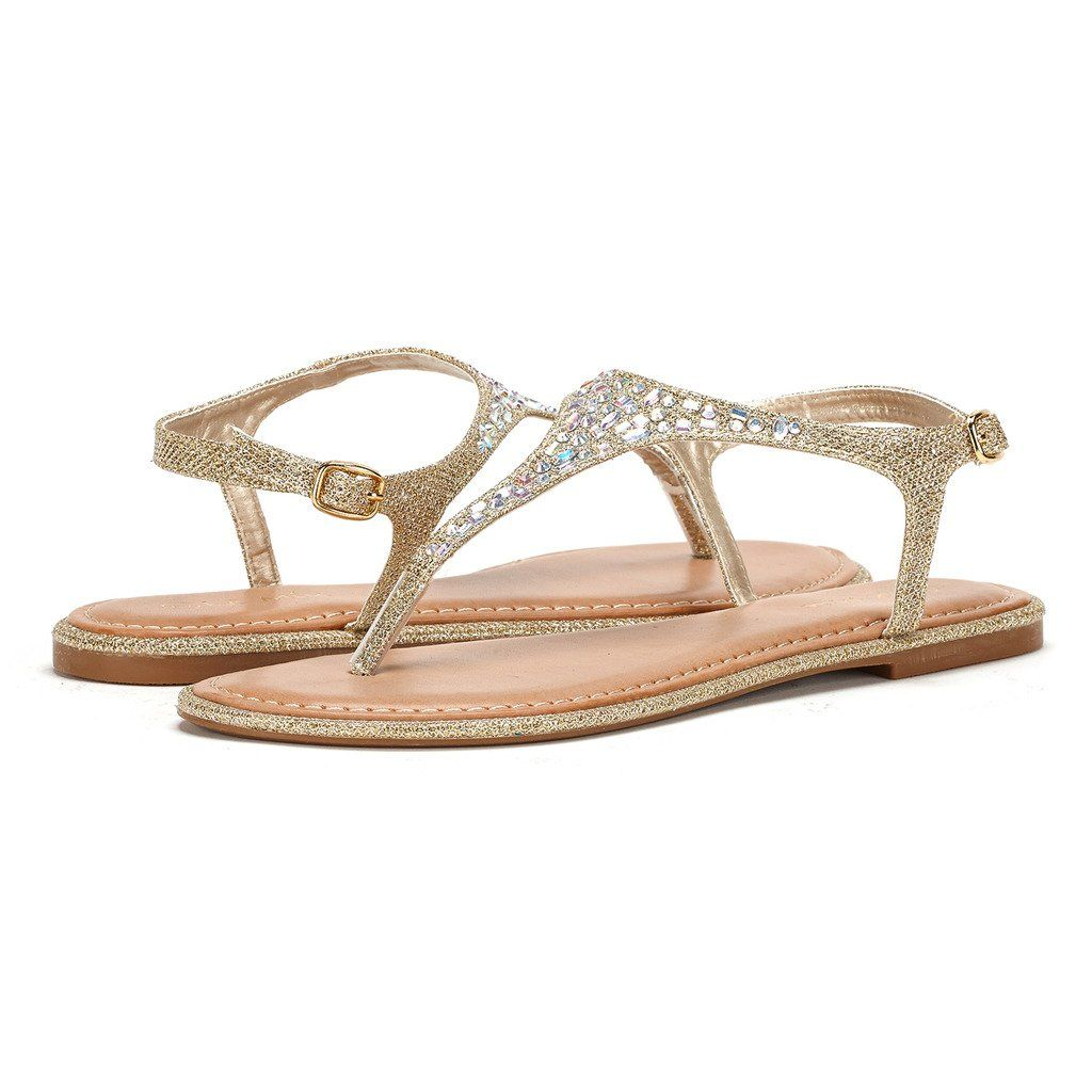Chatties Women's Beaded & Rhinestones Embellished T-Strap Sandals Flats Shoes