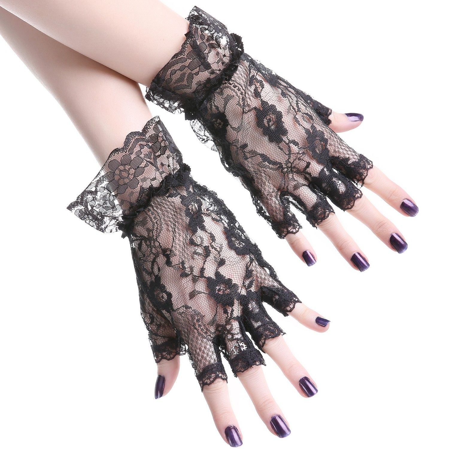 Lace Wrist Length Gloves with Ruffle Trim Bridal Goth Costume Full Fingered 1260