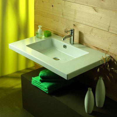 Ceramica Tecla Mars Ceramic Bathroom Sink with Overflow Faucet Mount: