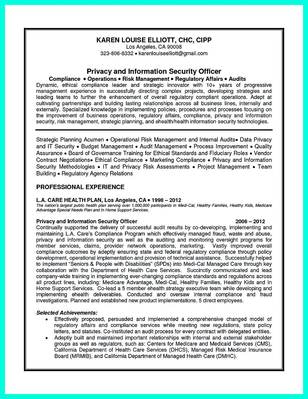 Compliance officer resume is well designed to get the