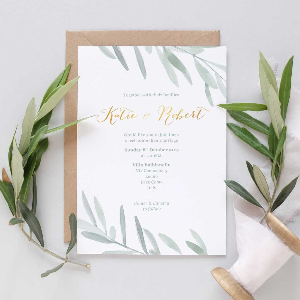 Olive Wedding Invitation Italian Wedding Invitations Italian