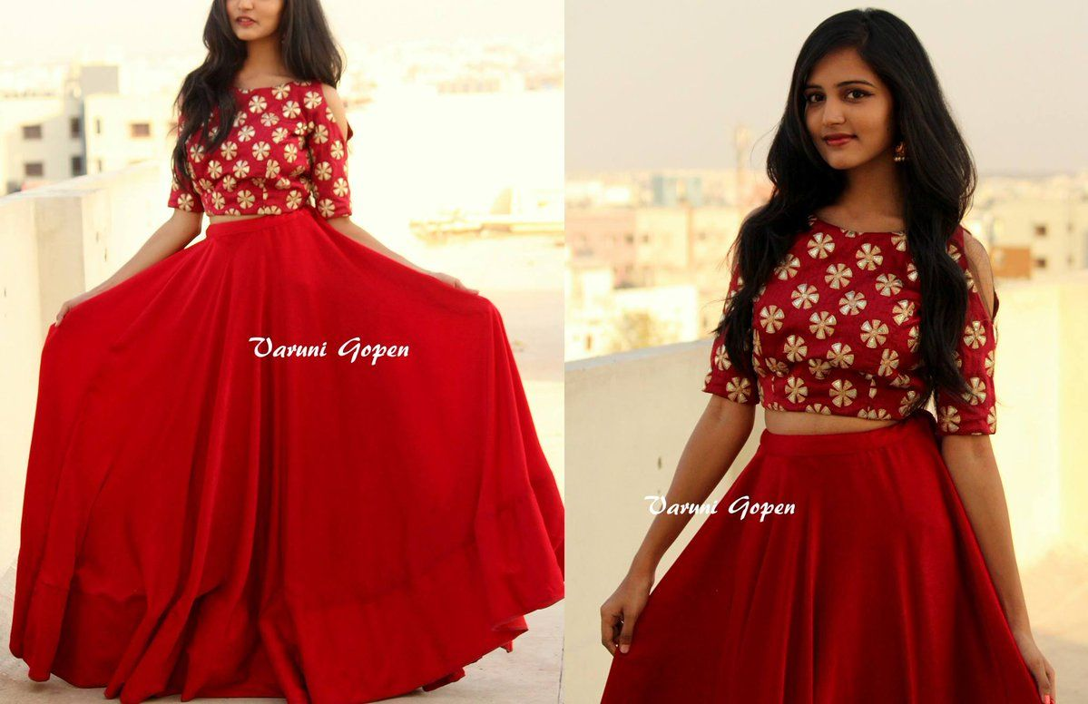 9193d04cb133c Beautiful meroon colour crop top with cold shoulder and lehenga from VARUNI  GOPEN.To buy this outfit Drop an email to varunigopen gmail.comwhatsapp ...