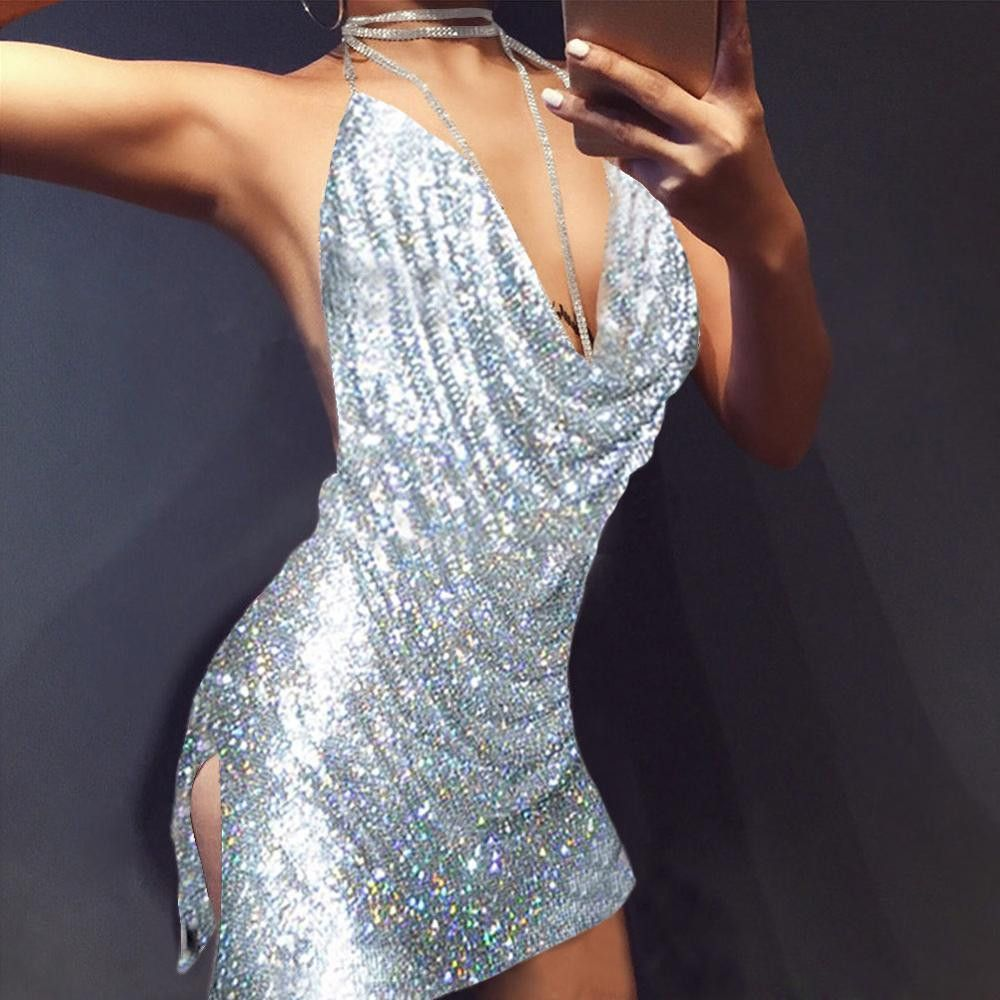 Buy RUIYIGE Backless deep v sequin sexy Boho Women black party ...