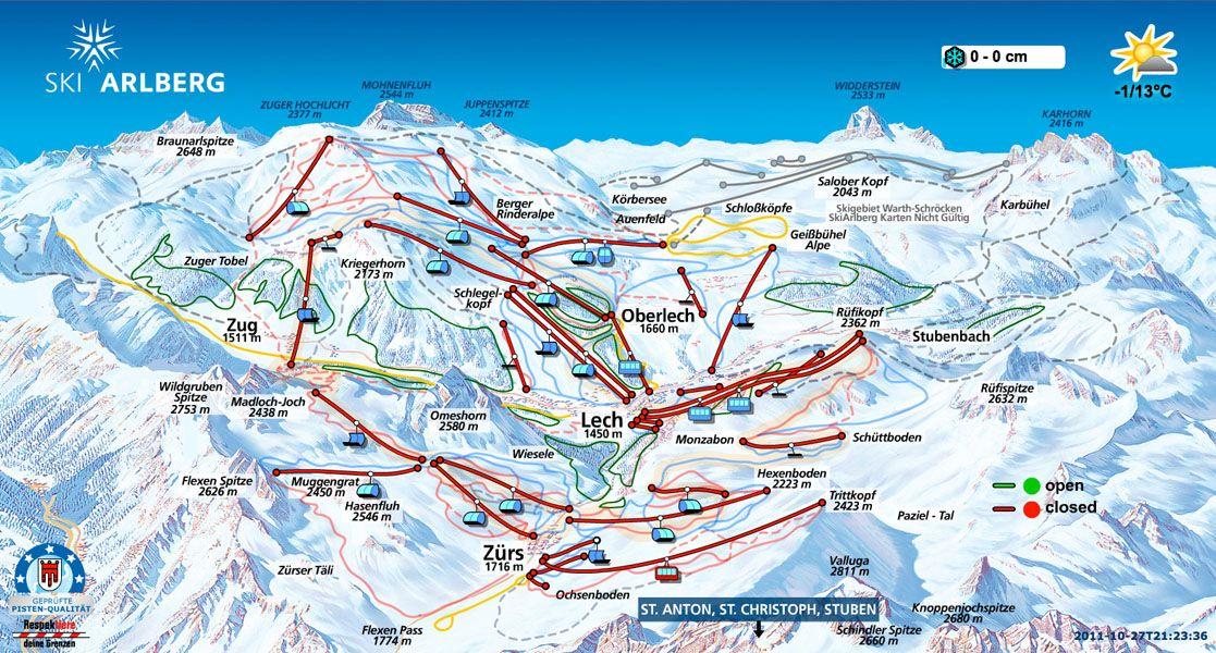 Ski Arlsberg Trail Conditions Lech Piste Map Trail Map Trail