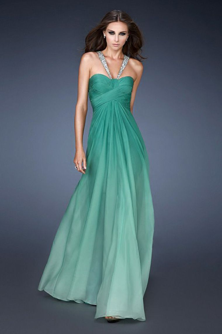 2014 Sexy Gradient Color Pleated Bodice Backless Prom Dress A Line ...
