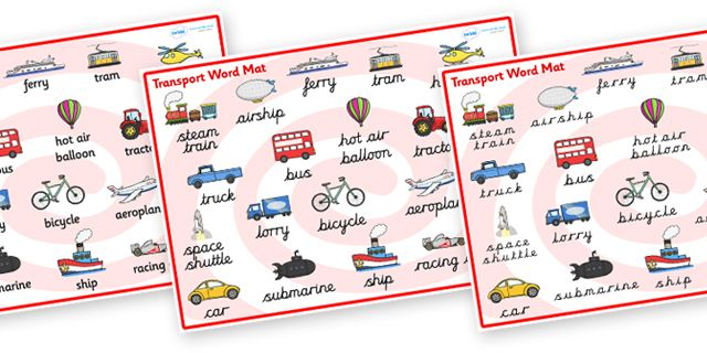 twinkl resources transport word mat thousands of printable primary teaching resources for. Black Bedroom Furniture Sets. Home Design Ideas