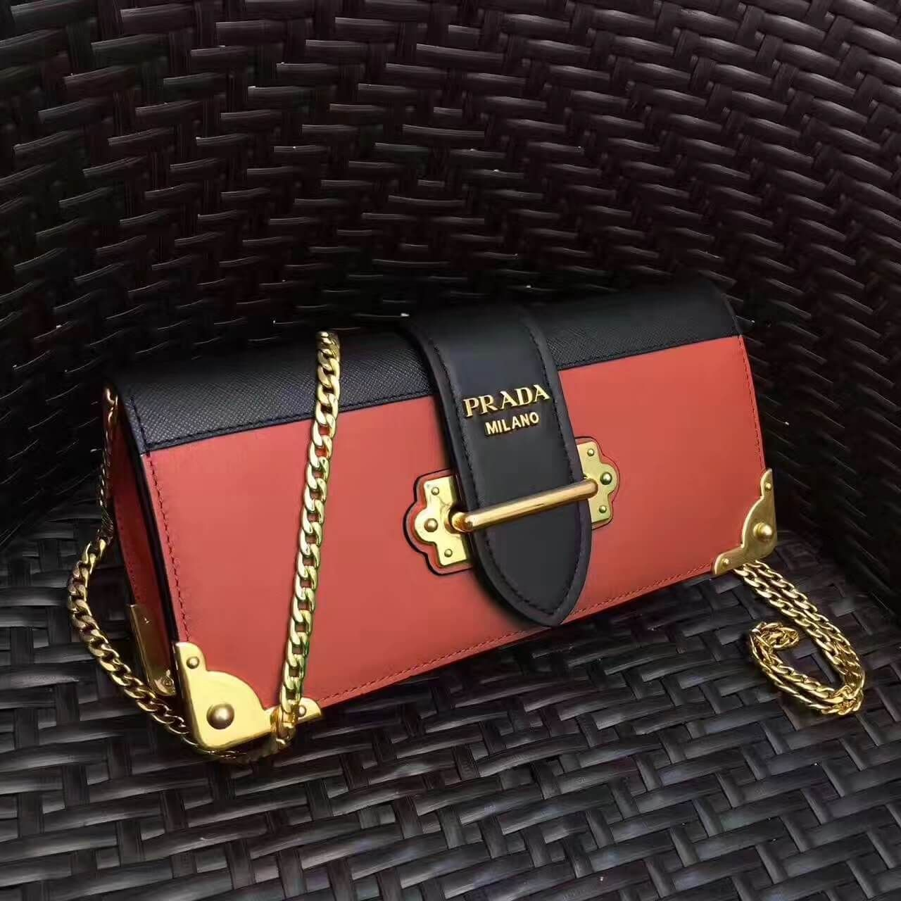 9f30799a9ce651 Prada Cahier Calf Leather and Saffiano Leather Clutch Bag 1BF048 Terracotta/Black  2017