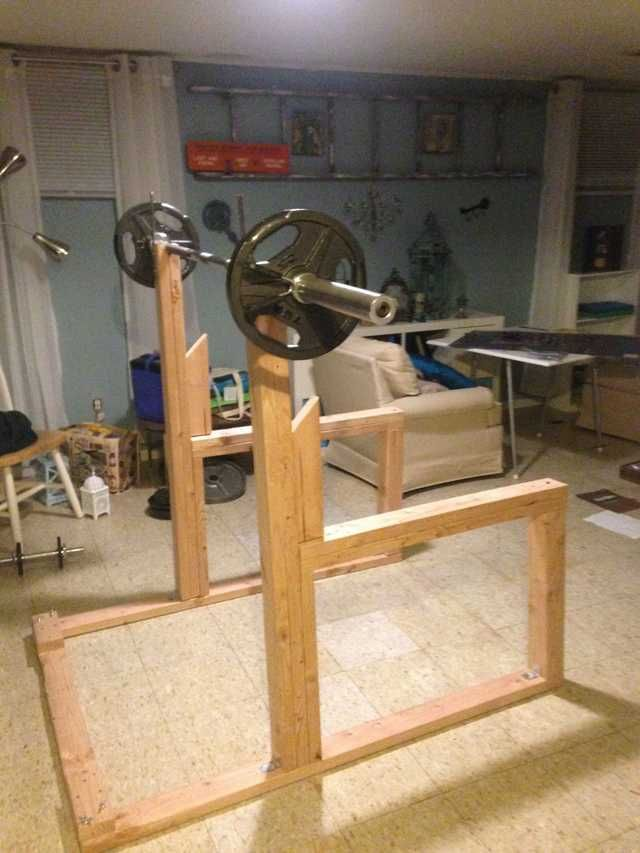 Diy squat rack and bench press imgur wood work for How to make a homemade squat rack