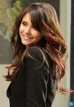 Soft Brown Hair Big Curls Red Streak Pink Hair Streaks Hair Streaks Thick Hair Styles