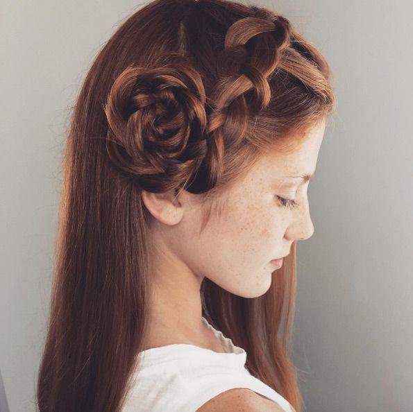 Simple Side Rose Bun By Detra Smith Hair Flower Braid Braided Bun Hairstyles Cool Hairstyles