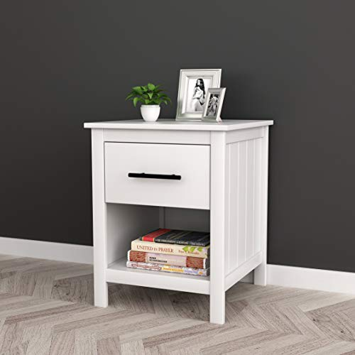 White Finish Nightstand Side End Table With Drawer And Open Shelf 22 H Best Offer Furniturev Com In 2020 End Tables With Drawers Open Shelving White Nightstand