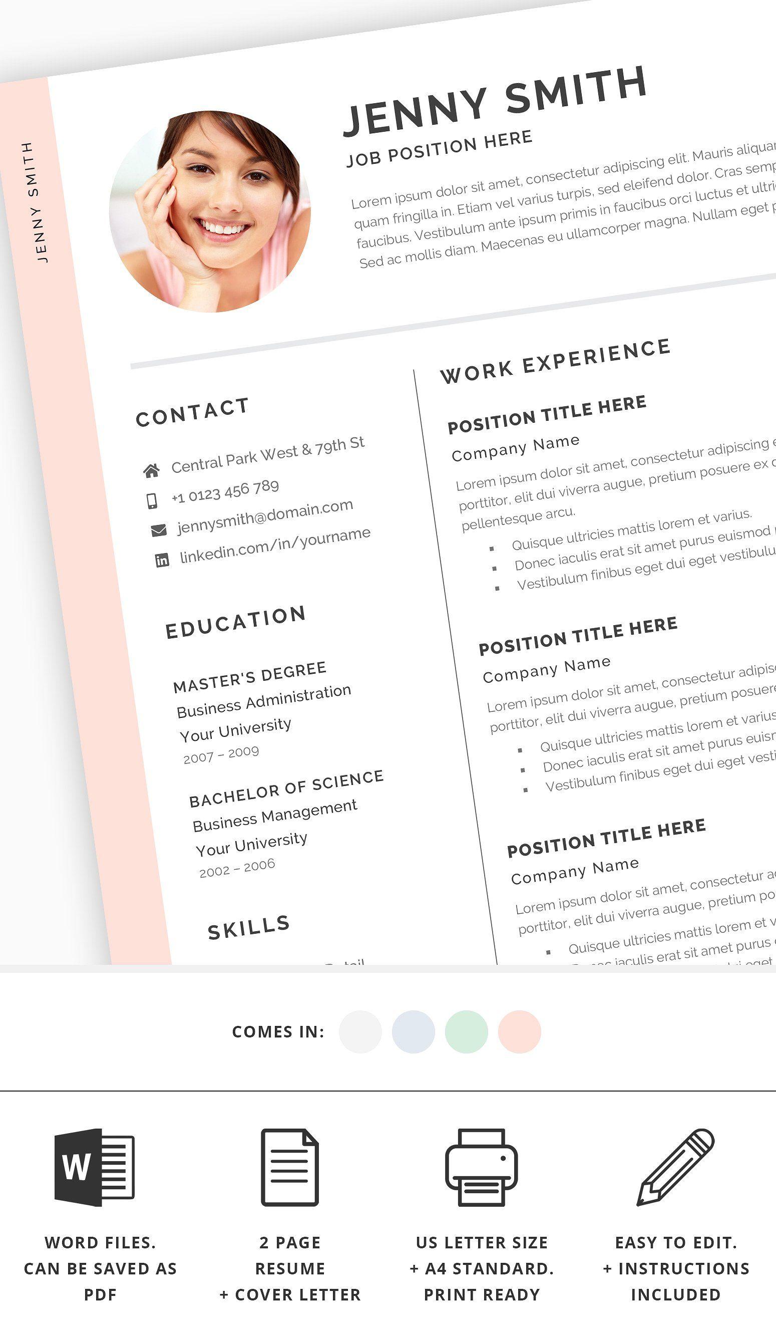 Resume Bundle Cv Bundle Modern Clean Resume Template Word
