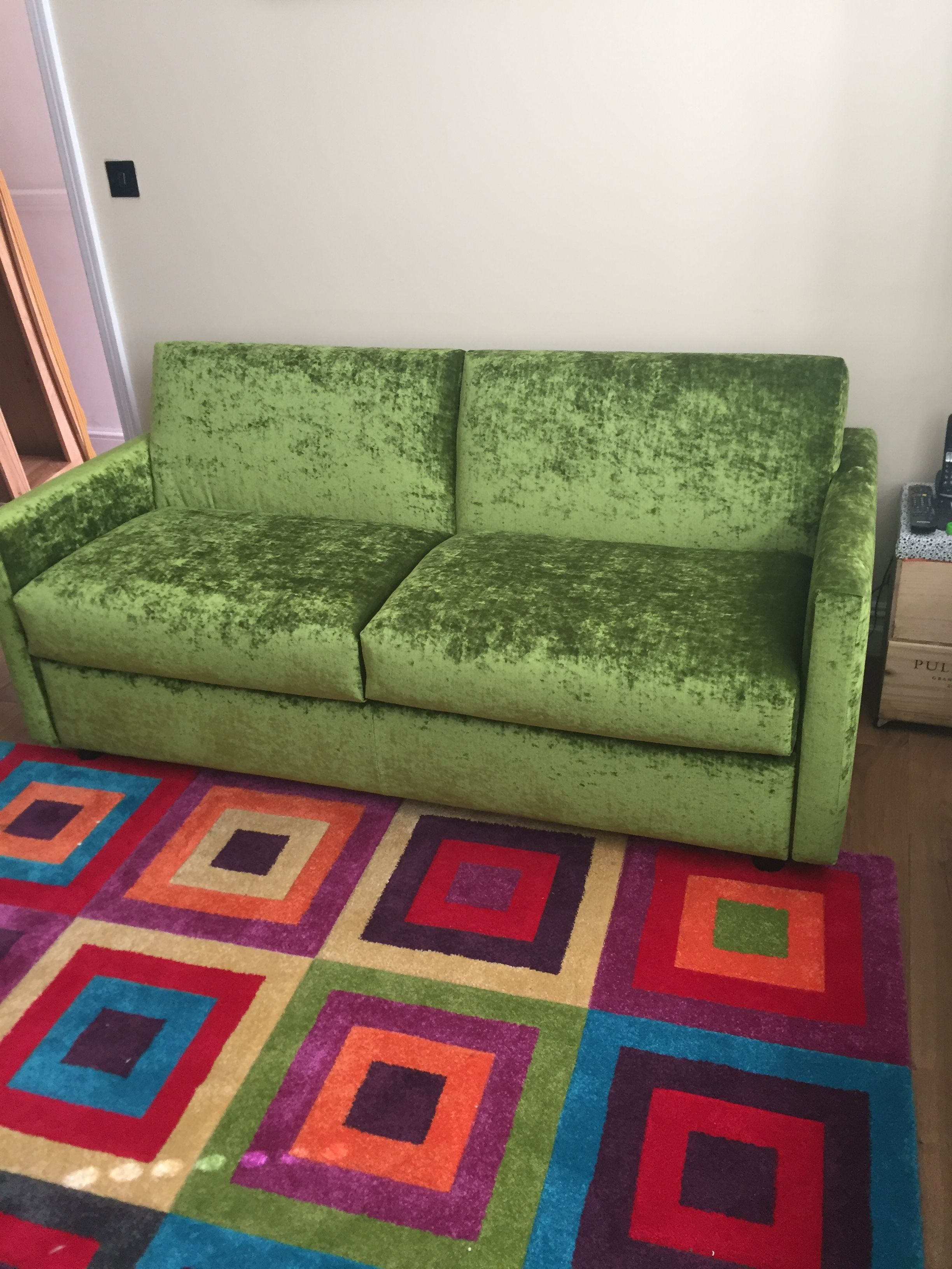 Fun This 180 Cm Wide Lario Sofa Bed Double With Slim Arms Works So Well In Fun Lime Velvet On This Colourful Rug Luxury Sofa Bed Sofa Bed Double Sofa Bed