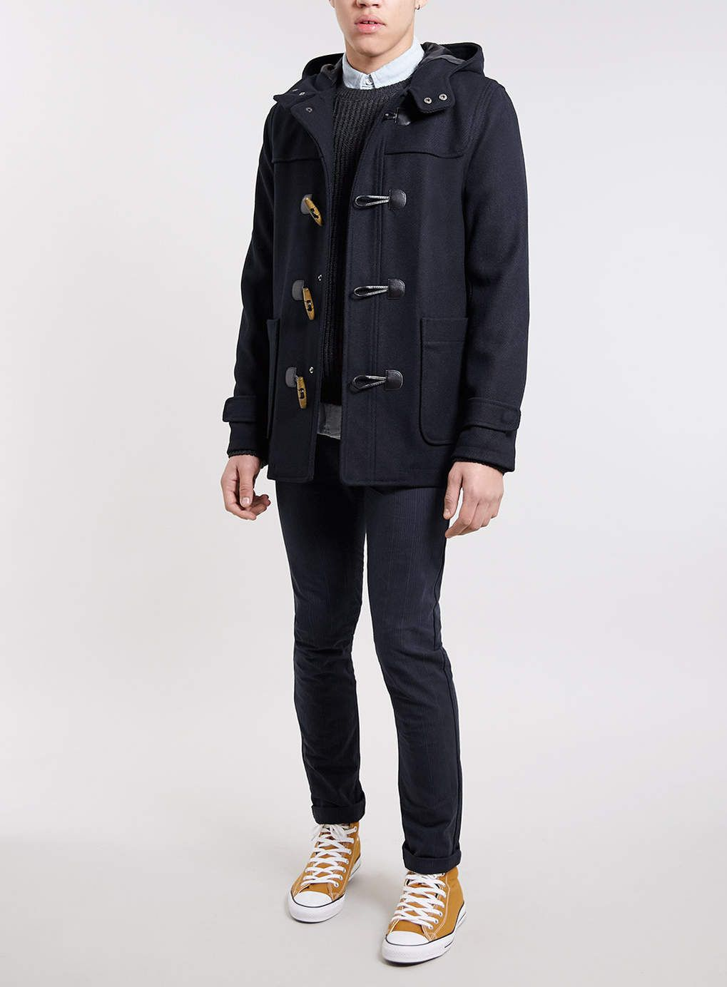 Navy wool blend duffle coat | Coats, Products and Wool