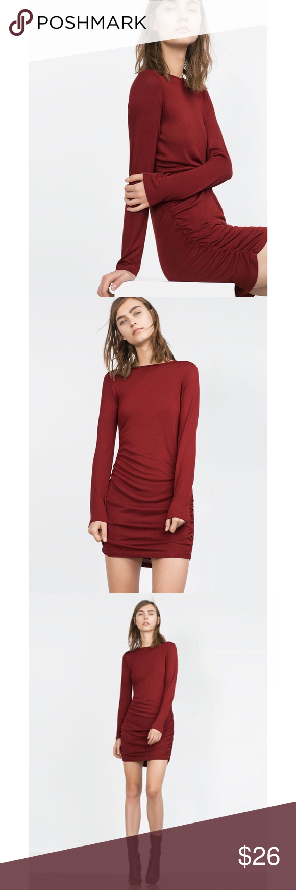 Zara burgundy longsleeve stretch gattered dress nwt in my