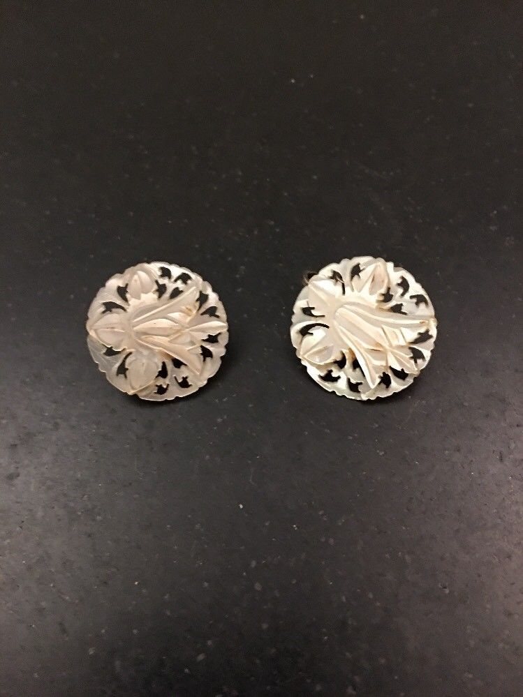 Mother Of Pearl Carved Orchid Flower Round Clip On Earrings 75 Ebay