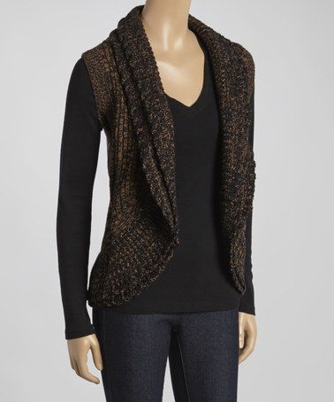Look at this #zulilyfind! Brown & Black Sleeveless Open Cardigan ...