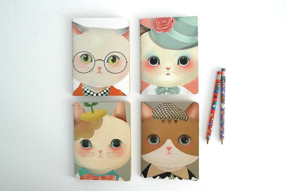 Kawaii Cats illustrated stitched note pads Cute by OSUStationery