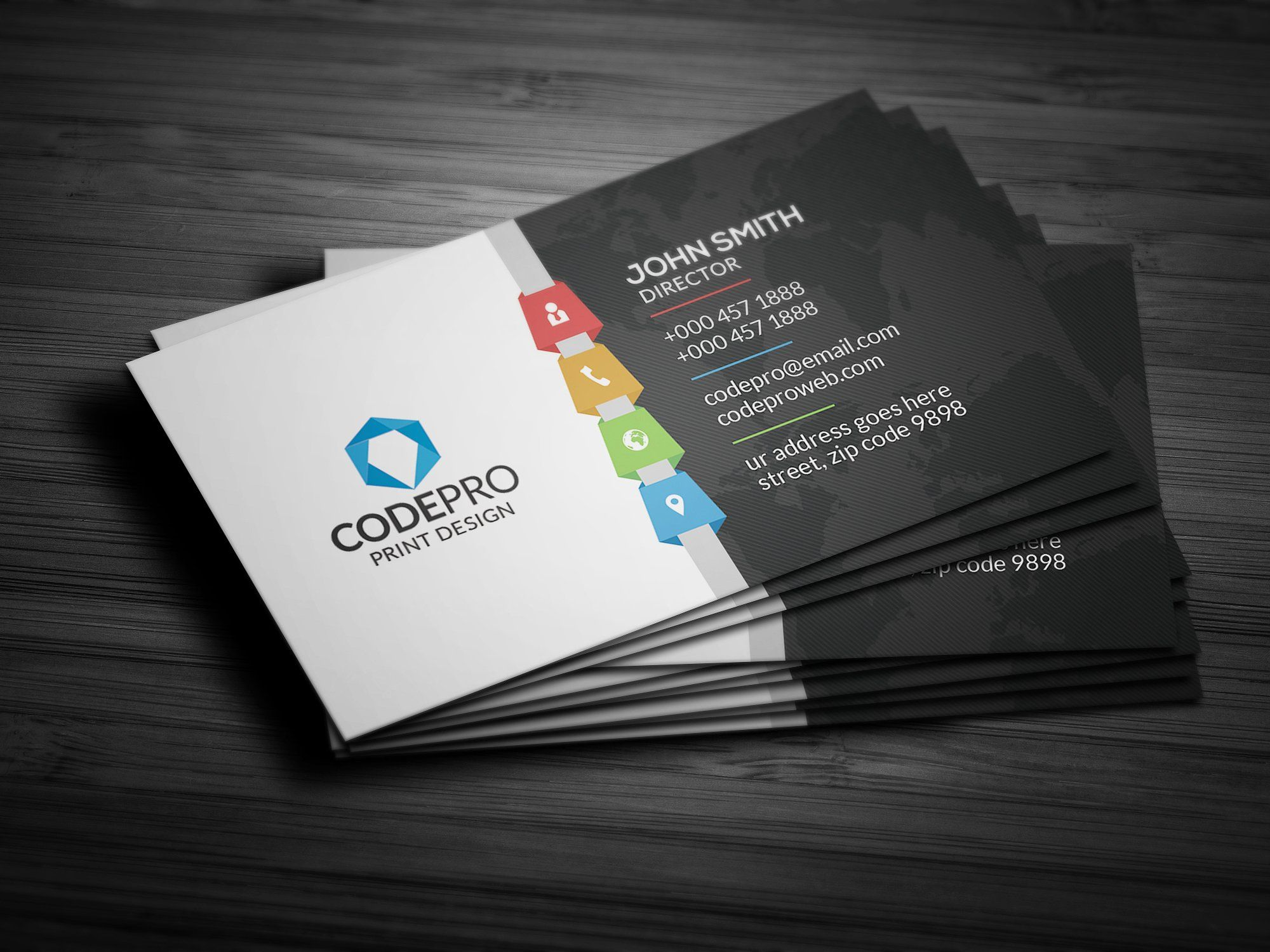 Modern colorful business card business cards latest adobe modern colorful business card reheart Image collections