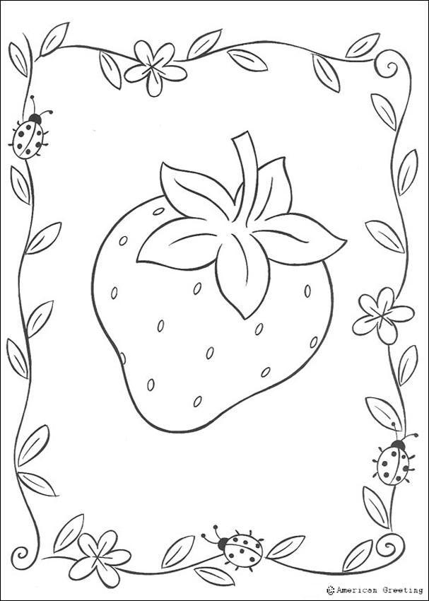 Dibujos de TARTA DE FRESA para colorear, Fresa y mariquita para ...