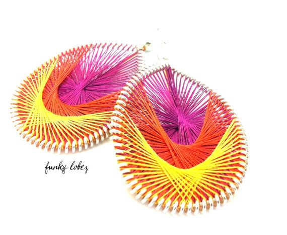 BLOOM Hot Pink Orange and Yellow thread earrings by by FunkyLobez, $20.00