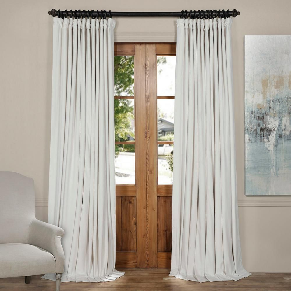 Exclusive Fabrics Furnishings Blackout Signature Off White Doublewide Blackout Velvet Curtain 100 In W X 84 In L 1 Panel Vpch Vet1219 84 Extra Wide Curtains Velvet Curtains Panel Curtains