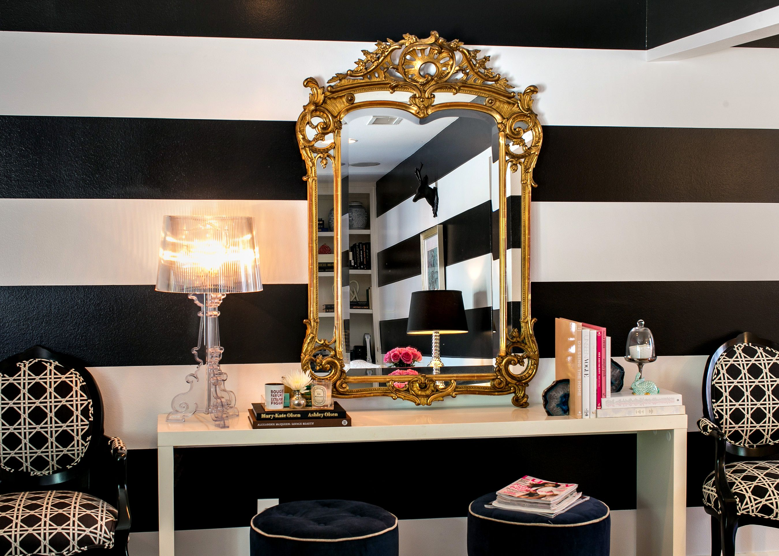 Black And White Striped Wall Gold Mirror Lamp Wall Decor