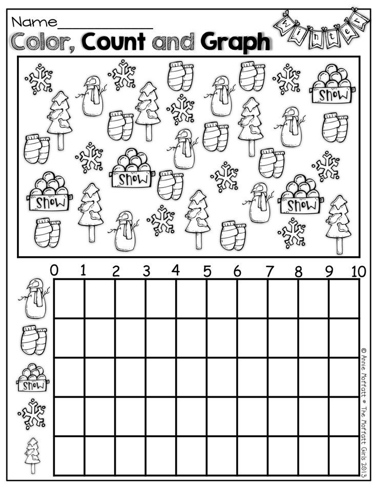 Color count and graph winter items Part of Winter Math and – Kindergarten Morning Worksheets