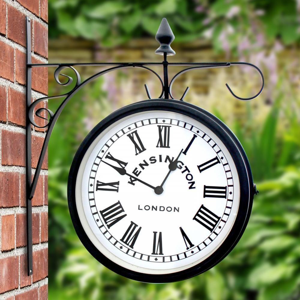 OUTDOOR GARDEN KENSINGTON STATION OUTSIDE BRACKET WALL CLOCK 25CM DOUBLE  SIDED
