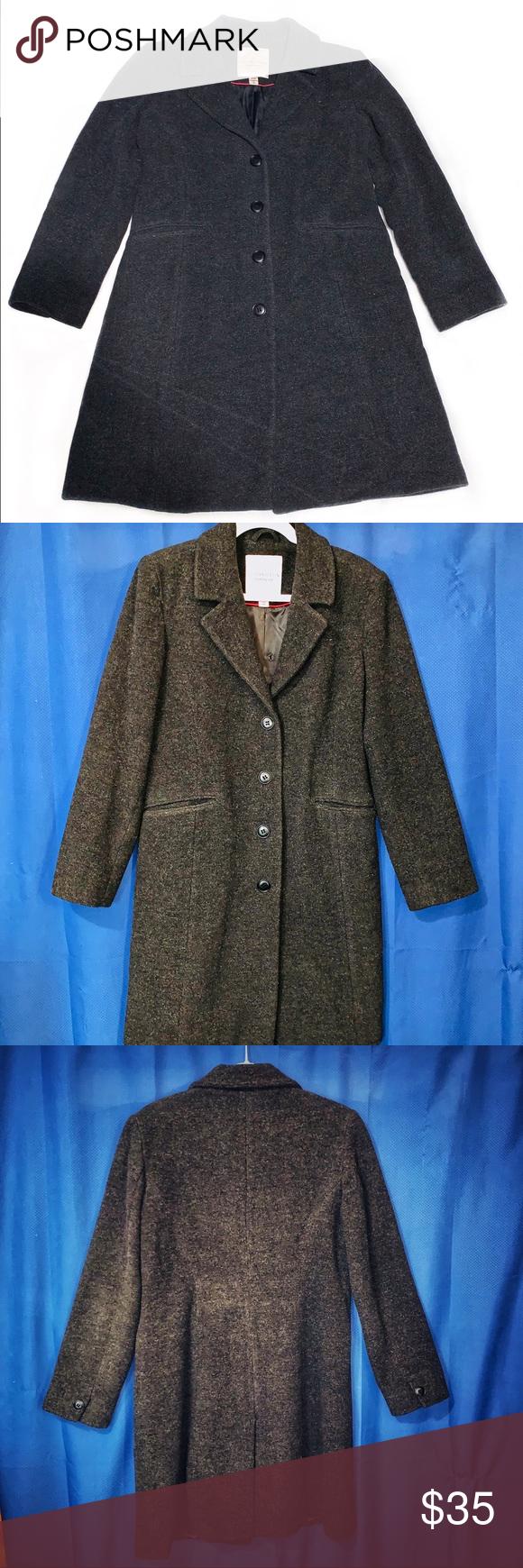 Covington Pea Coat Size M Charcoal Grey Black Coats For Women Wool Peacoat Peacoat Outfit [ 1740 x 580 Pixel ]