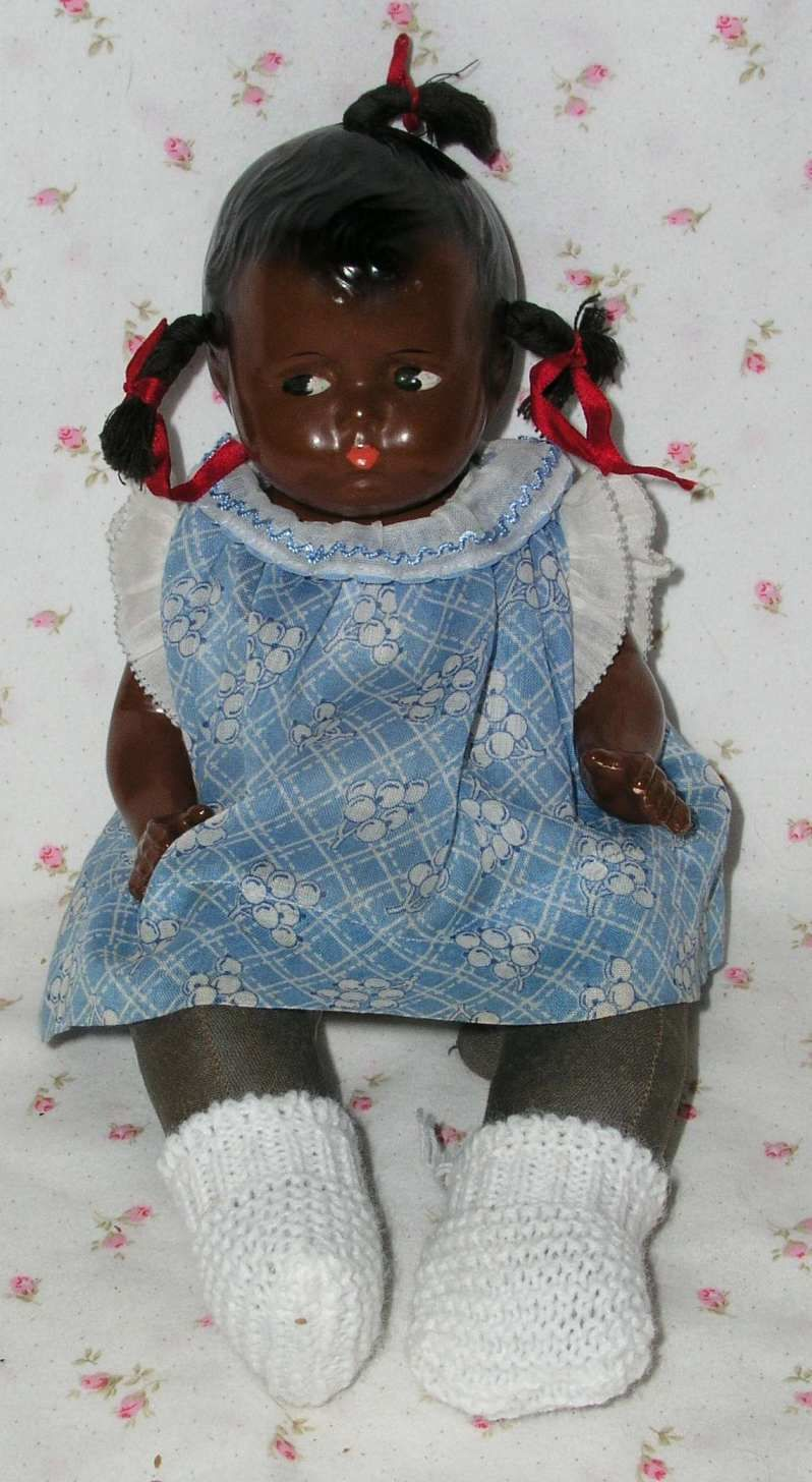 "1930s RARE Effanbee 12"" Black / African American GRUMPYkins GRUMPY BABY Doll - Original Dress, Replaced Booties"
