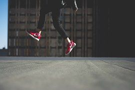 Person, Jumping, Shoes, Red, Nike, City