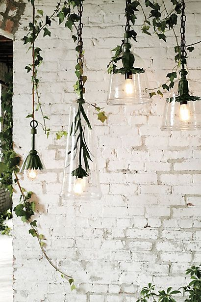 Iron Petals Pendant Lamp White Brick Walls White Wash Brick Wall Design