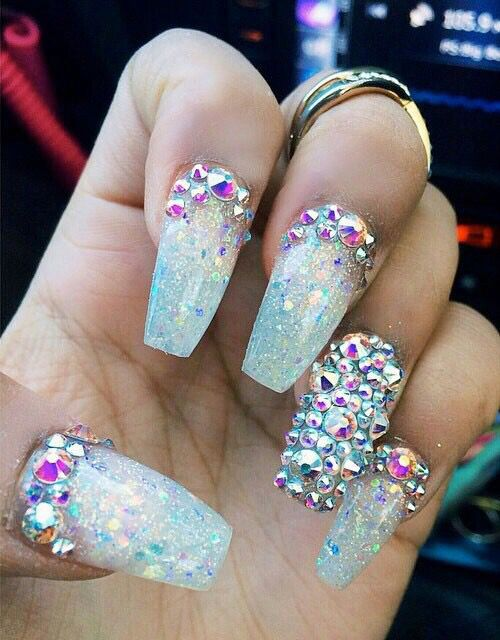Shattered glass diamond coffin nails