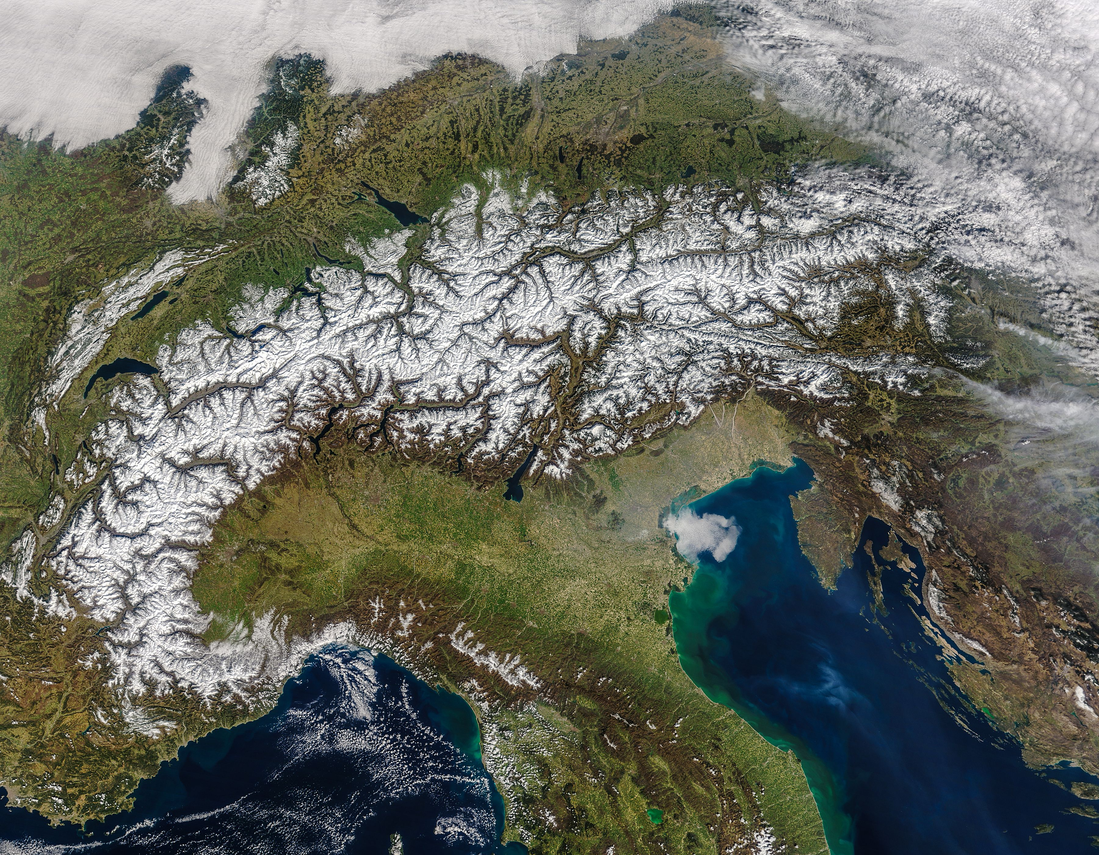 The Alps in spring. Image of the day, Satellite image, Earth