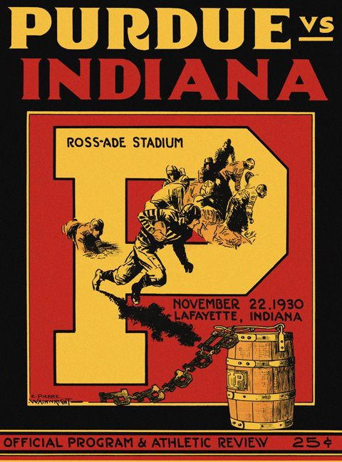 1930 Purdue vs. Indiana football poster for the Oaken ...