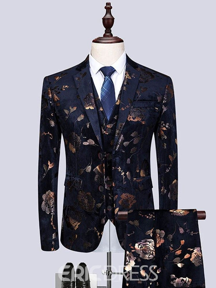 dad5c0ca676da Ericdress Floral Print Mens 3 Pieces Casual Party Dress Suit 13799829 -  Ericdress.com