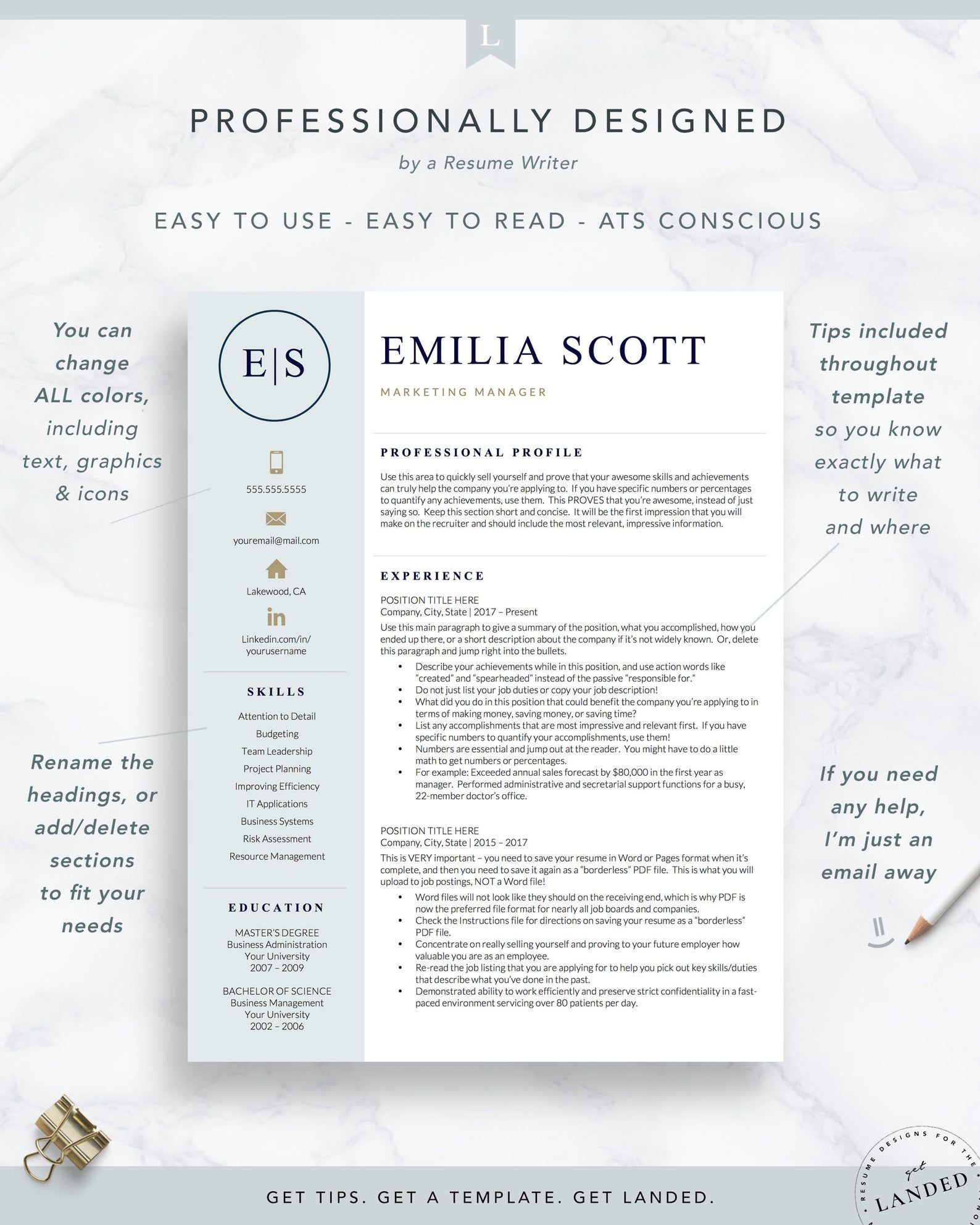 Creative Stylish Resume Template for Word & Pages Nurse