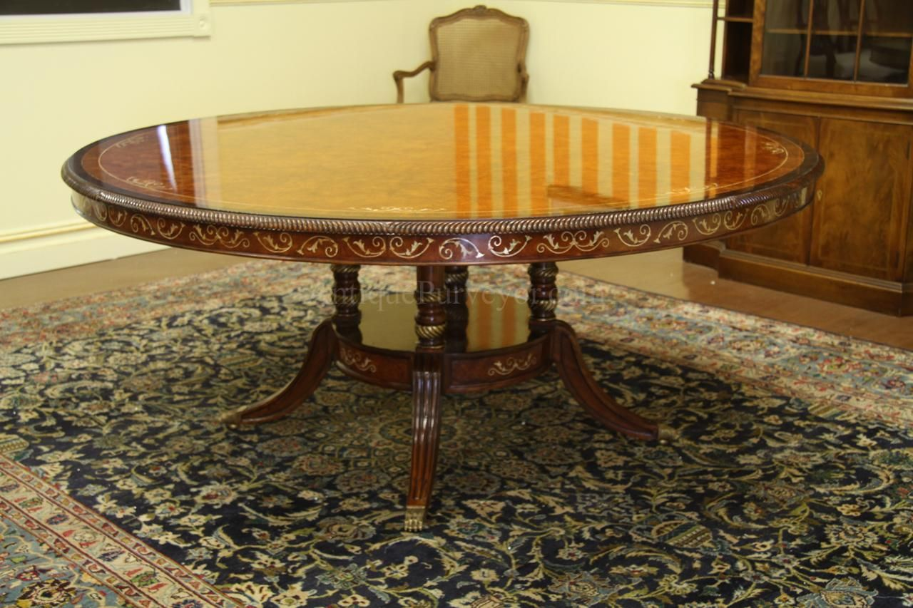 Luxurious 71 Inch Burl Walnut And Pearl Inlaid Dining Table