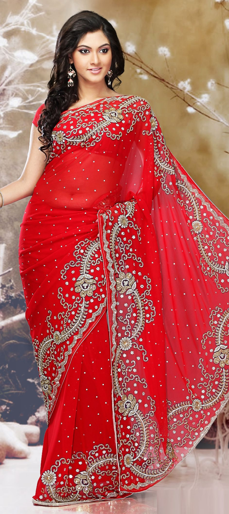 f1c8ac8979b 160272  Red and Maroon color family Bridal Wedding Sarees with matching  unstitched blouse.