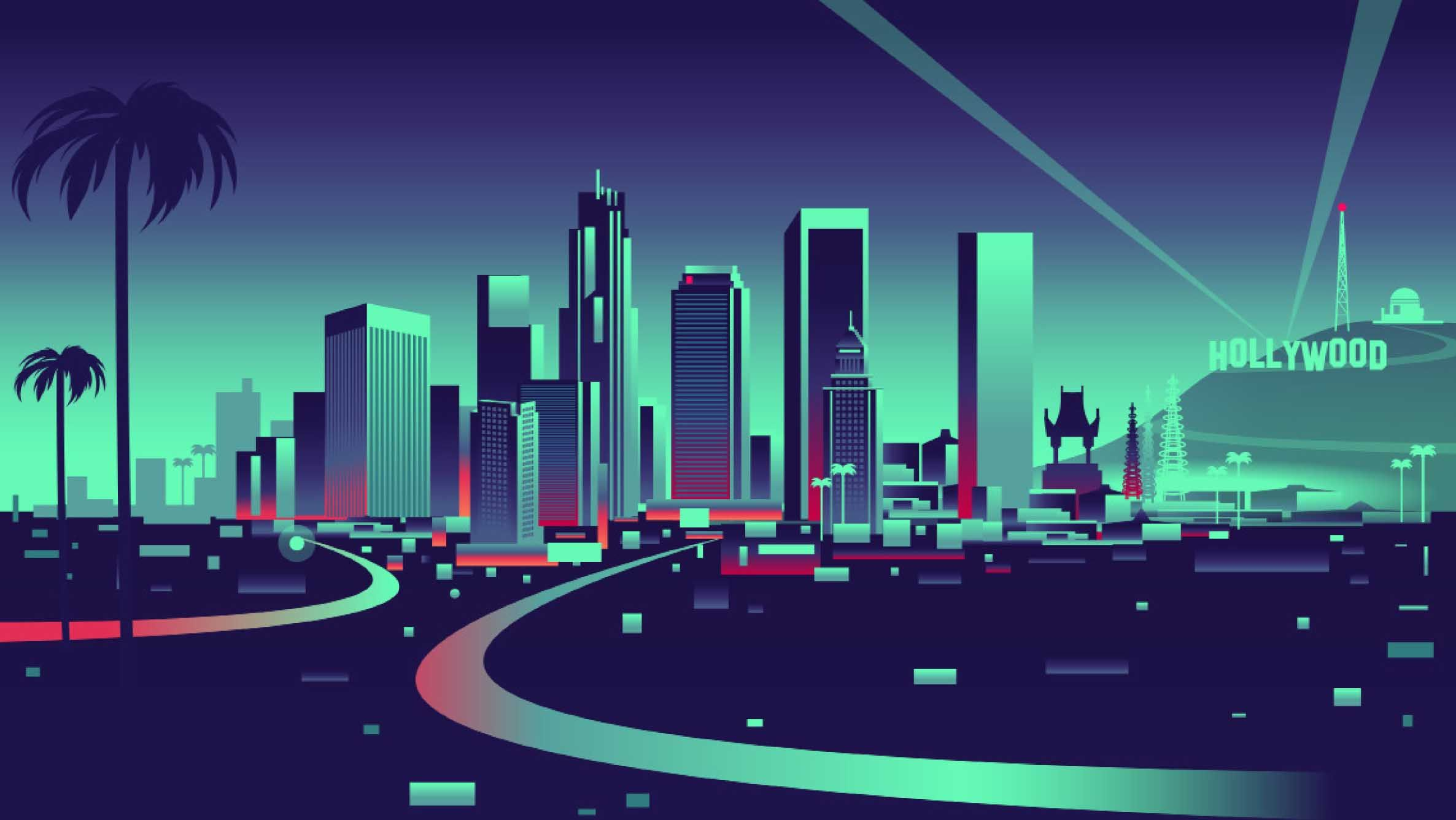 Los Angeles Ca Building Illustration Landscape