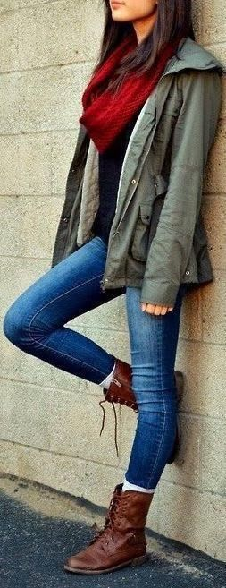 Fall outfit olive jacket and burgundy scarf.
