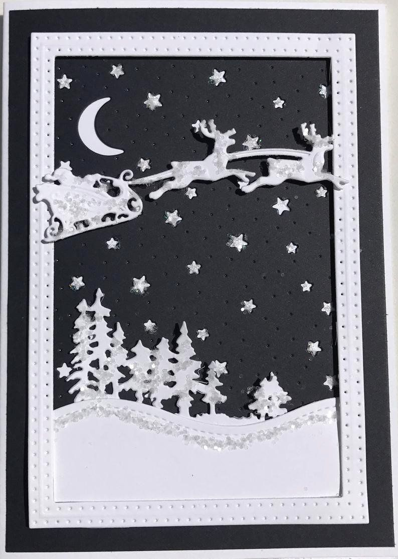 Silent Night Christmas Cards Inspirational Unique 3d Santa S Sleigh In The Night Sky Christmas Card Deluxe Christmas Card Template Christmas Cards Silent Night