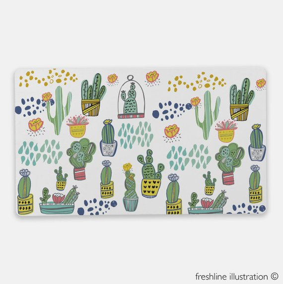 Cactus desk decor desk mat is part of Cactus decor Desk - NonSlip Rubber Base  Size 24″ x 14″ Custom order  Are you interested in placing a  custom order to add a name or custom wedding color scheme to the  illustration  Email me for more information and pricing   • Please remember that the color shown on the monitor may vary slightly from the printed product  Terms and conditions upon purchase  By purchasing this product you agree with the following  This product is for adult use only  Not for babies or children  Buyer assumes  all responsibility for the use and care of products  Some products may  contain small parts and are for adult use only  Freshline Illustration,  LLC is not responsible or liable for any misuse of the product or  injuries that are incurred from it's products   Shipping Times  Your order will be mailed out within 7 business days of ordering   All  illustrations copyrighted by © Colleen Johnson of Freshline  Illustration & Design ©  Purchase of art does not entitle buyer to  reproduction rights  Copyright is not transferable with this sale