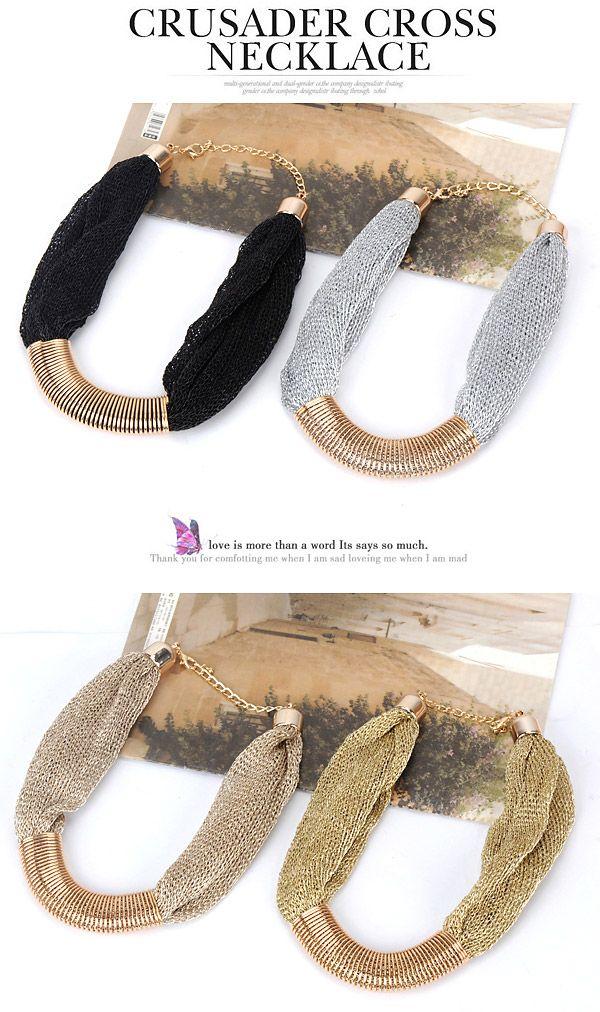 Rachel Bronze Gemstone Decorated Simple Design Alloy Korean Necklaces,Korean Necklaces www.asujewelry.com